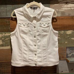 White denim vest by:  Baccini